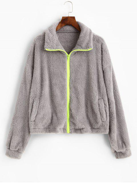 new ZAFUL Zip Front Fluffy Pockets Faux Shearling Jacket - LIGHT GRAY XL Mobile