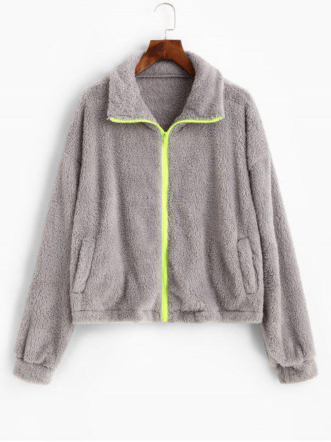 ZAFUL Reißverschluss Flauschige Künstliche Shearling Jacke - Hellgrau XL Mobile