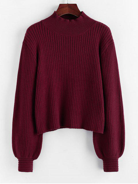 new ZAFUL Mock Neck Lantern Sleeve Drop Shoulder Sweater - RED WINE L Mobile