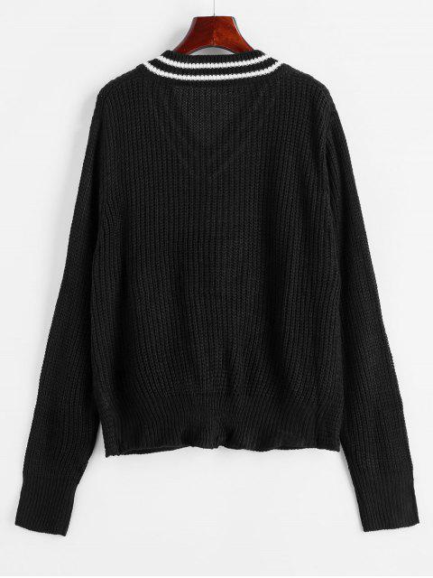 fashion V Neck Preppy Stripes Twist Front Sweater - BLACK L Mobile