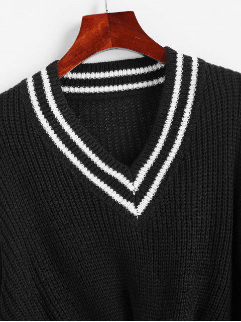 V-Ausschnitt Preppy Streifen Verdrehter Vorder Pullover - Schwarz L Mobile