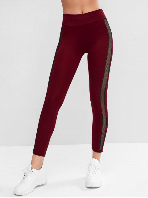 Fischnetz Panel Hohe Taille Sport Leggings - Roter Wein S Mobile