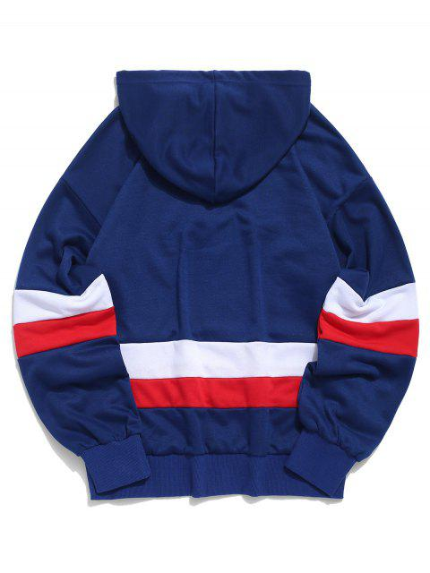 buy ZAFUL American Flag Color Blocking Letter Print Hoodie - NAVY BLUE S Mobile