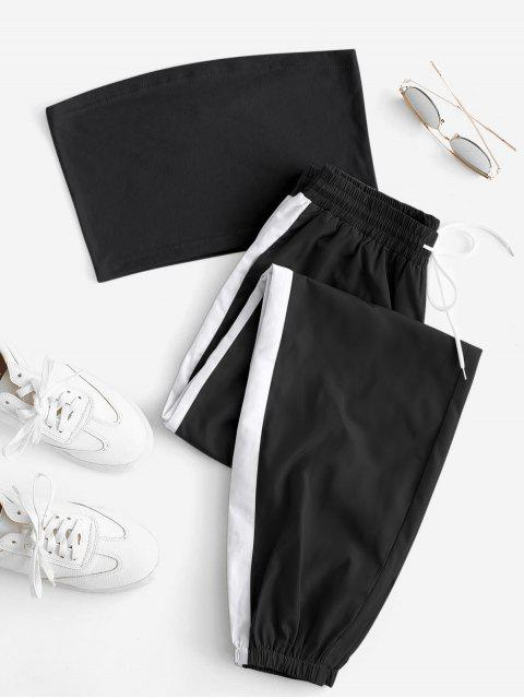 outfits Bandeau Top and Contrast Jogger Pants Set - MULTI-A M Mobile