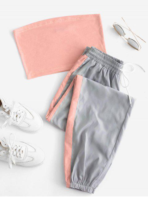 trendy Bandeau Top and Contrast Jogger Pants Set - MULTI-B M Mobile