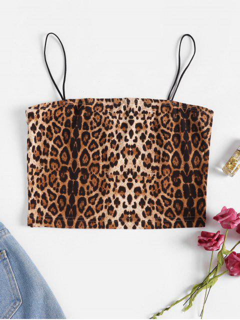 fancy Cropped Tiger Leopard Bungee Cami Top - MULTI-B S Mobile