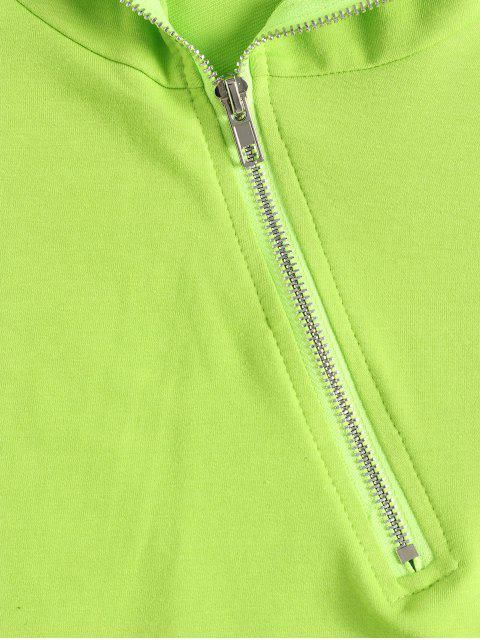 shops Half Zip Plain Crop Hoodie - GREEN M Mobile