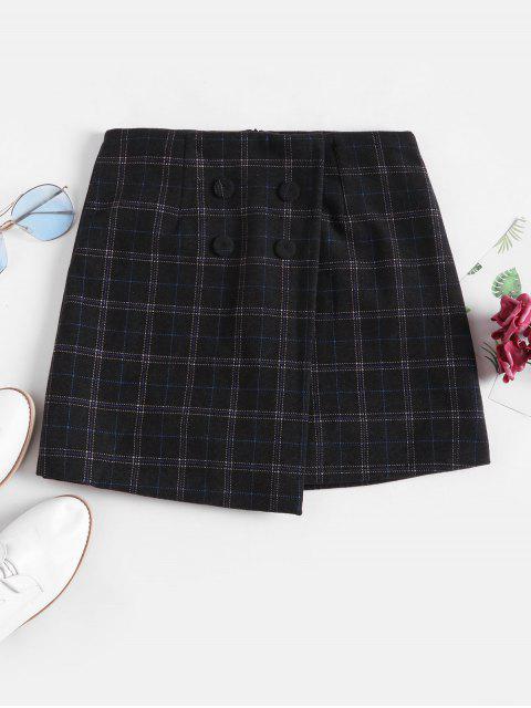 重疊雙排扣格紋羊毛混紡短裙 - 黑色 L Mobile
