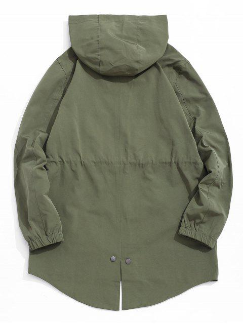 women's High Low Back Split Solid Hooded Coat - ARMY GREEN L Mobile