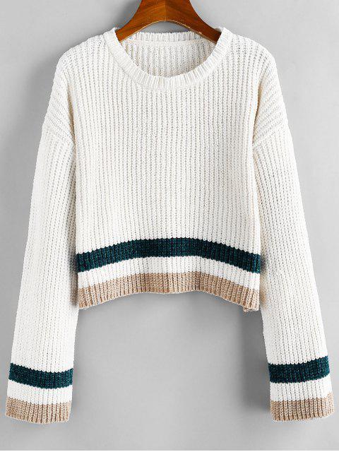women's ZAFUL Striped Chenille Drop Shoulder Jumper Sweater - WARM WHITE L Mobile