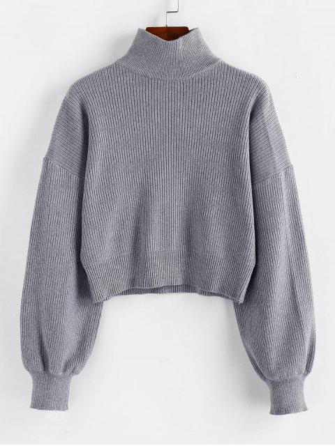 shops ZAFUL High Neck Drop Shoulder Plain Sweater - LIGHT SLATE GRAY S Mobile