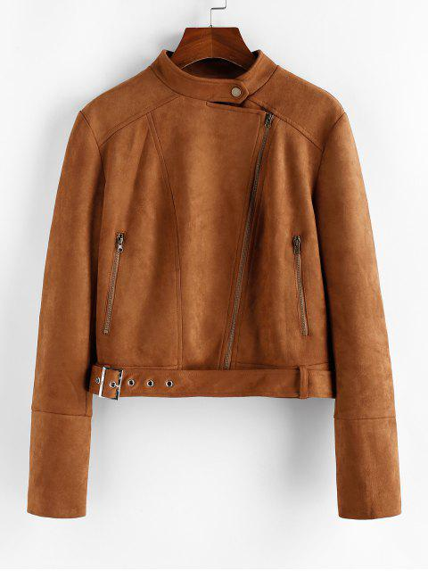 affordable ZAFUL Faux Suede Inclined Zipper Belted Jacket - WOOD XL Mobile