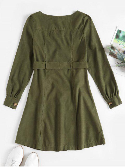 latest ZAFUL Square Neck Belted Long Sleeve Dress - ARMY GREEN S Mobile