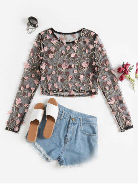 hot ZAFUL Floral Embroidery Sheer Mesh Cropped T Shirt - BLACK S Mobile