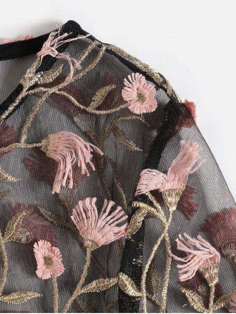 ZAFUL T-shirt Court Fleuri Brodé en Maille Transparente - Noir XL Mobile