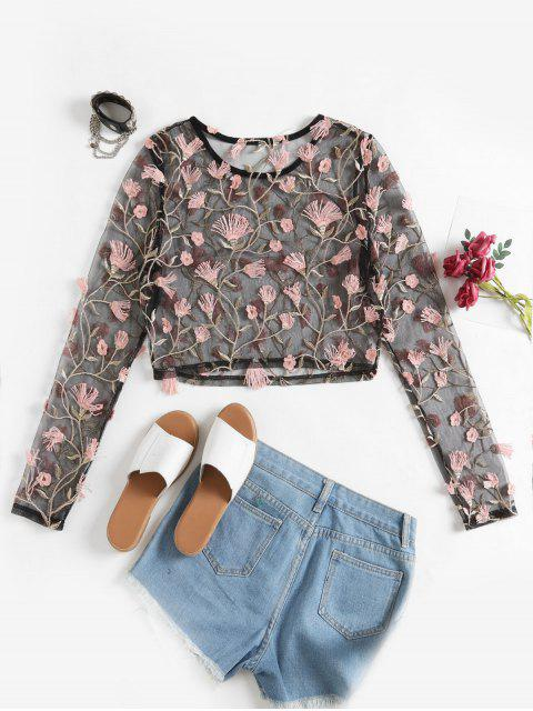 shop ZAFUL Floral Embroidery Sheer Mesh Cropped T Shirt - BLACK M Mobile