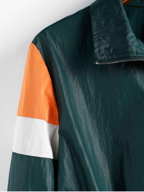 Chaqueta Recortada Empalme Zipper - Verde de Helecho XL Mobile