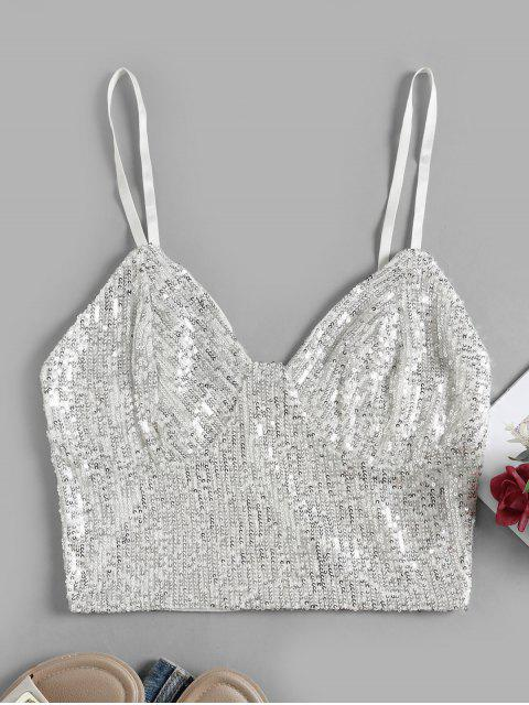 chic Back Zipper Sequined Crop Cami Top - WHITE S Mobile
