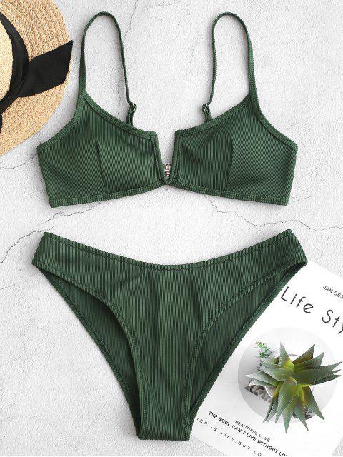 unique ZAFUL Textured Ribbed V-wired Bikini Swimsuit - MEDIUM SEA GREEN S Mobile