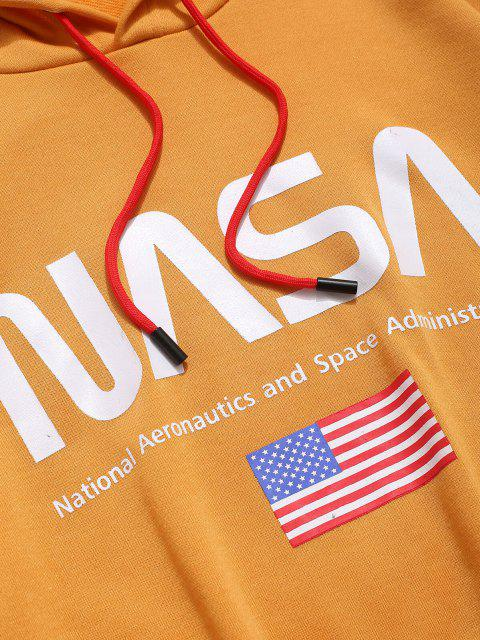 outfit ZAFUL American Flag Color Blocking Letter Print Hoodie - GOLDEN BROWN M Mobile