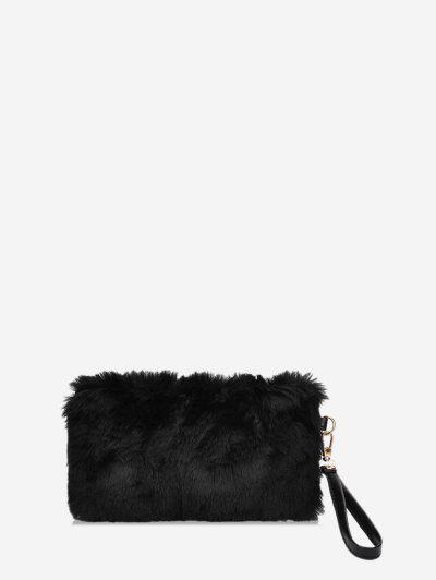 Plain Faux Fur Wrist Clutch Bag - Black