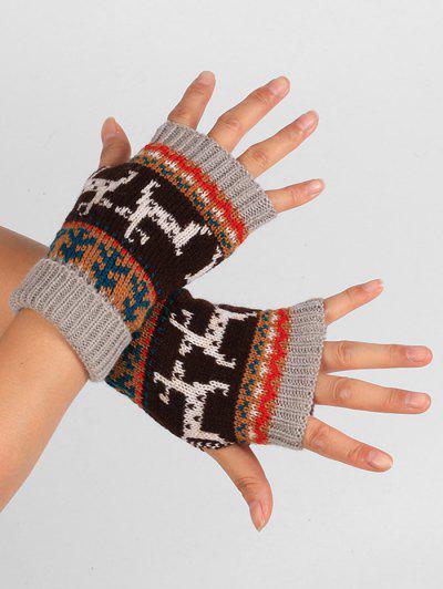 Christmas Deer Knitted Fingerless Gloves