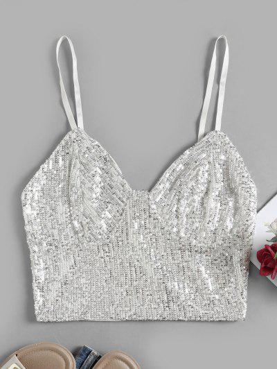 Back Zipper Sequined Crop Cami Top - White L