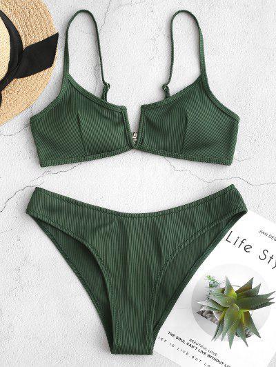 ZAFUL Textured Ribbed V-wired Bikini Swimsuit - Medium Sea Green L