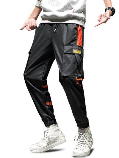 Contrast Spliced Drawstring Cargo Jogger Pants - Black S