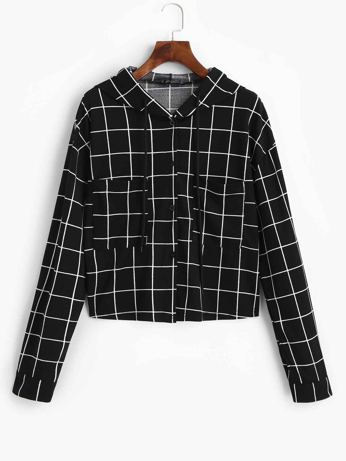 ZAFUL Button Up Drawstring Checked Pockets Jacket
