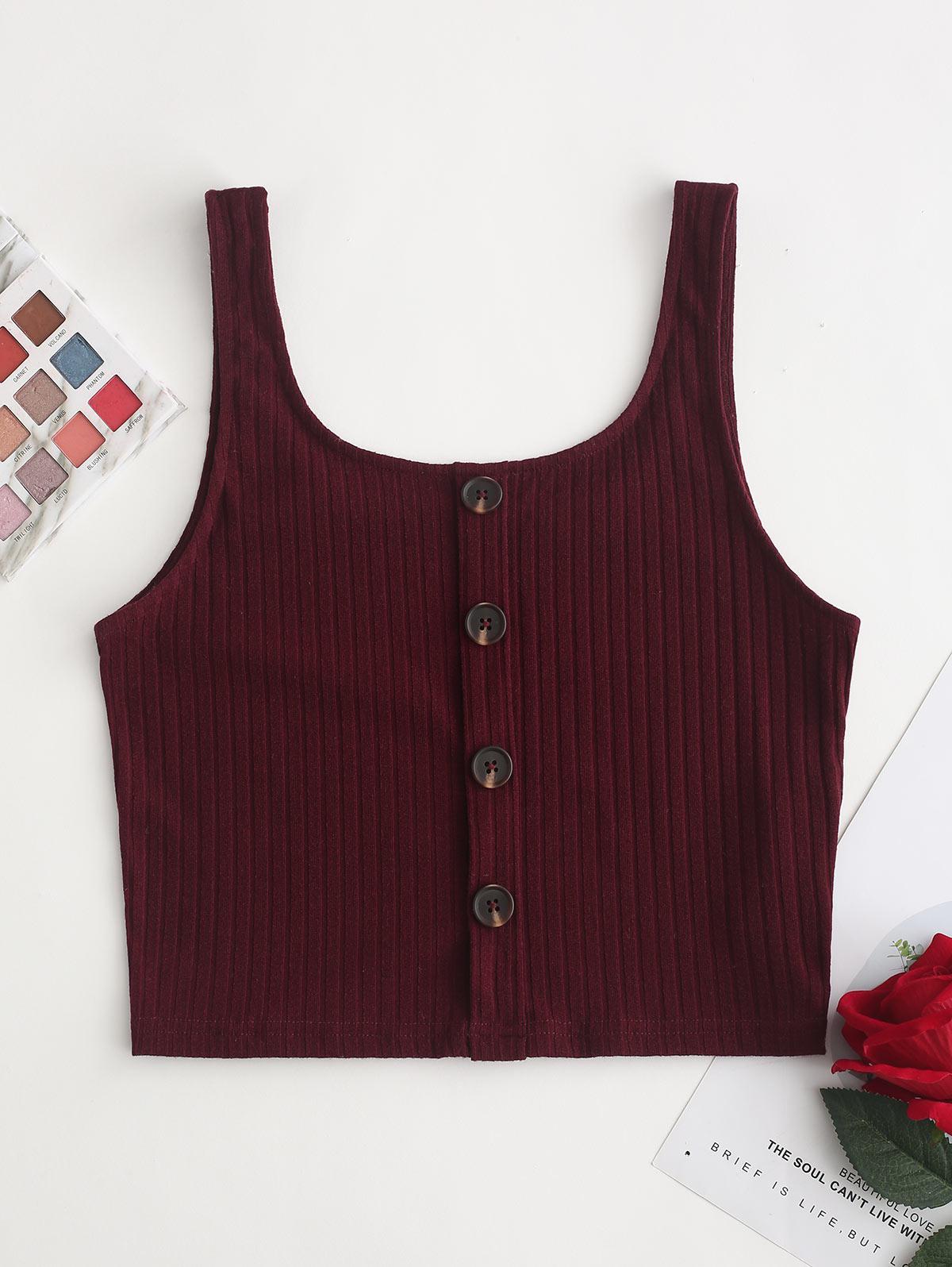 ZAFUL Mock Button Knit Tank Top