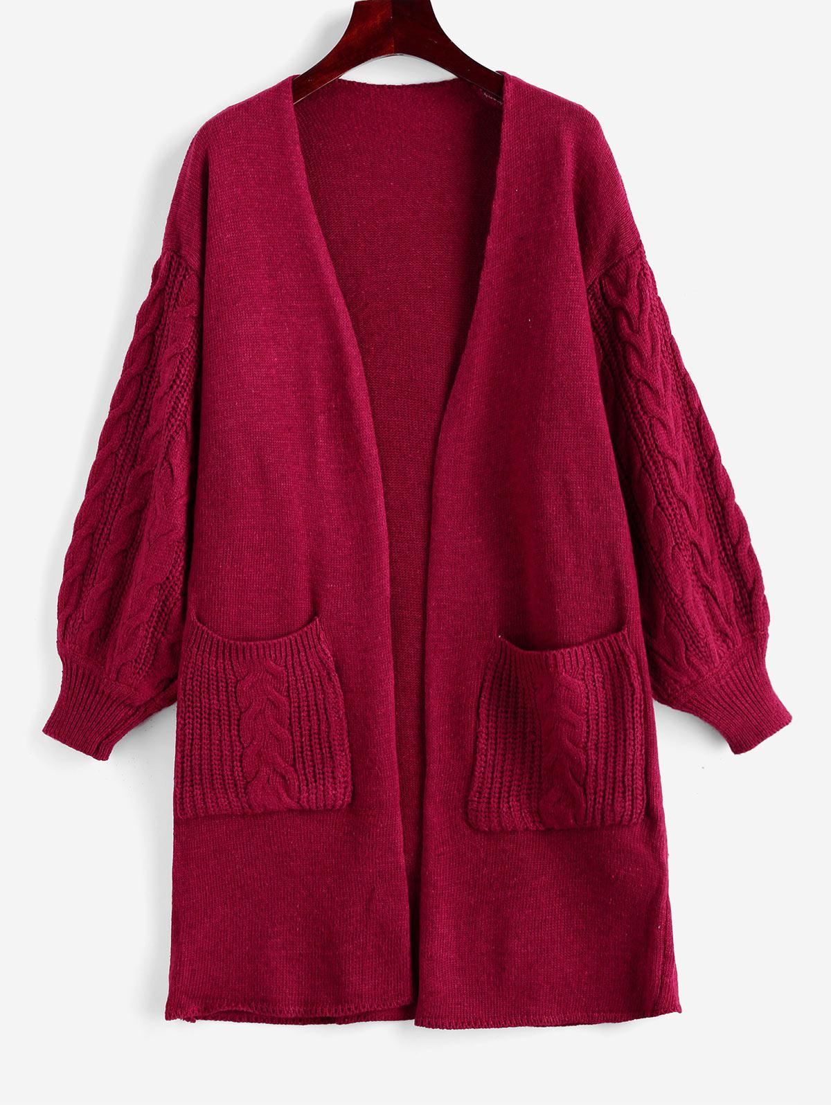 Open Placket Dual Pocket Cable Knit Cardigan