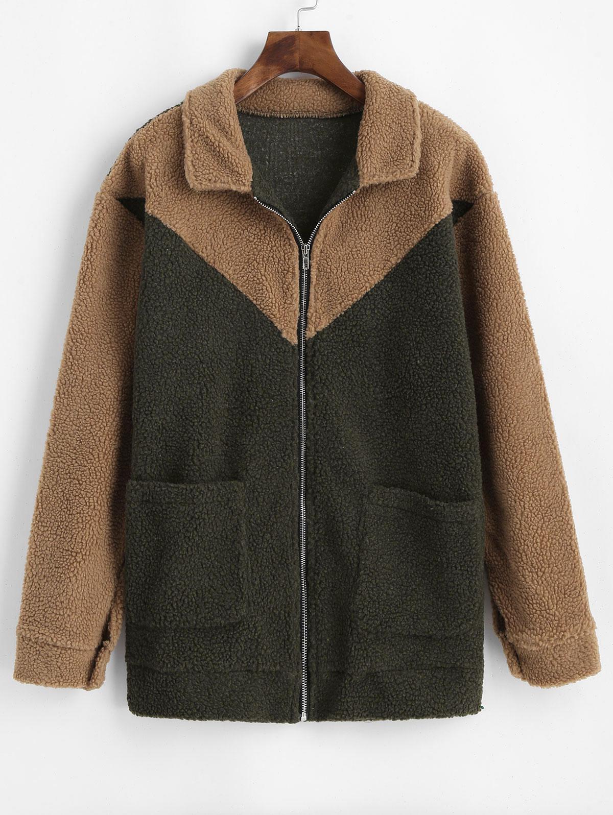 Two Tone Fluffy Pocket Zip Teddy Coat