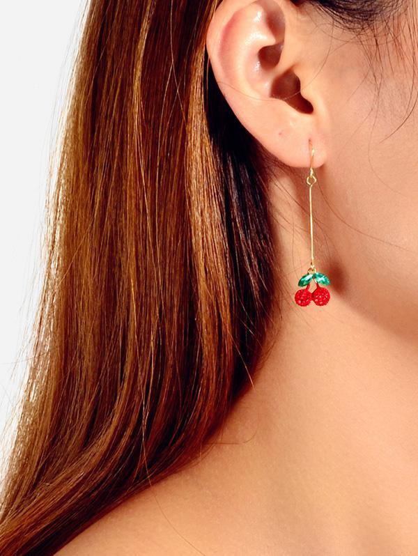 Full Rhinestone Cherry Long Drop Earrings thumbnail