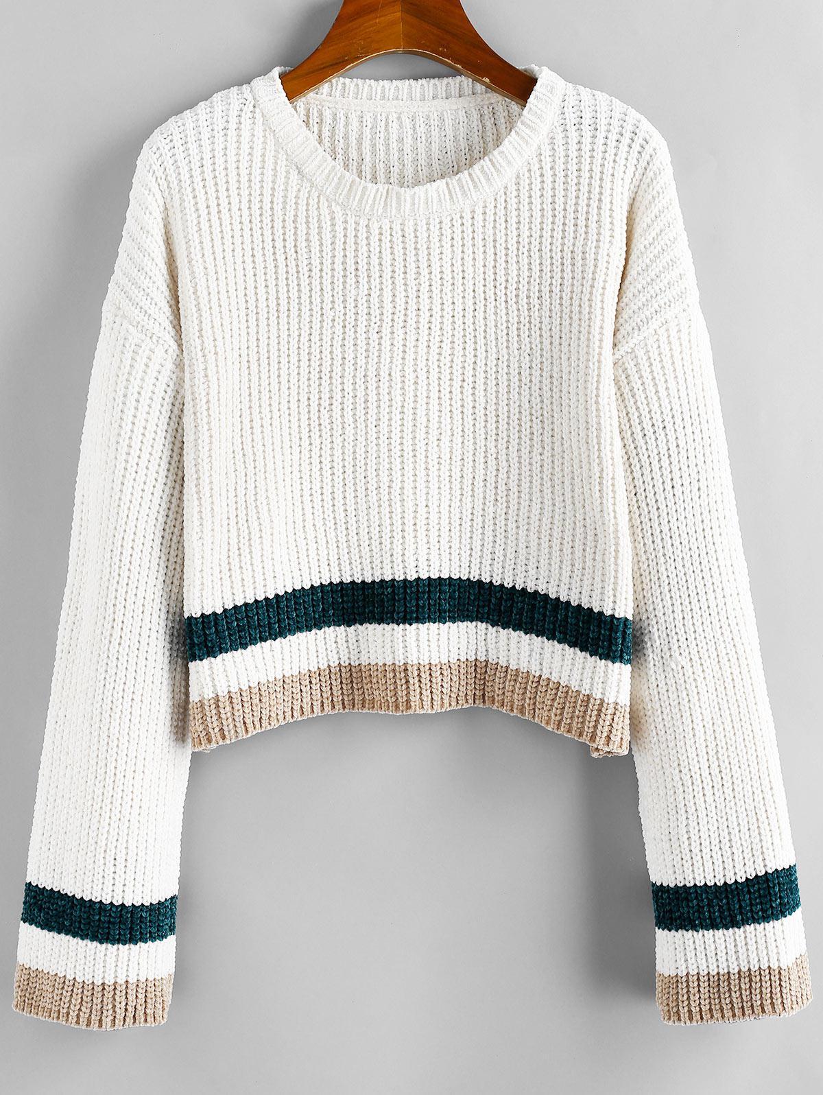 ZAFUL Striped Chenille Drop Shoulder Jumper Sweater