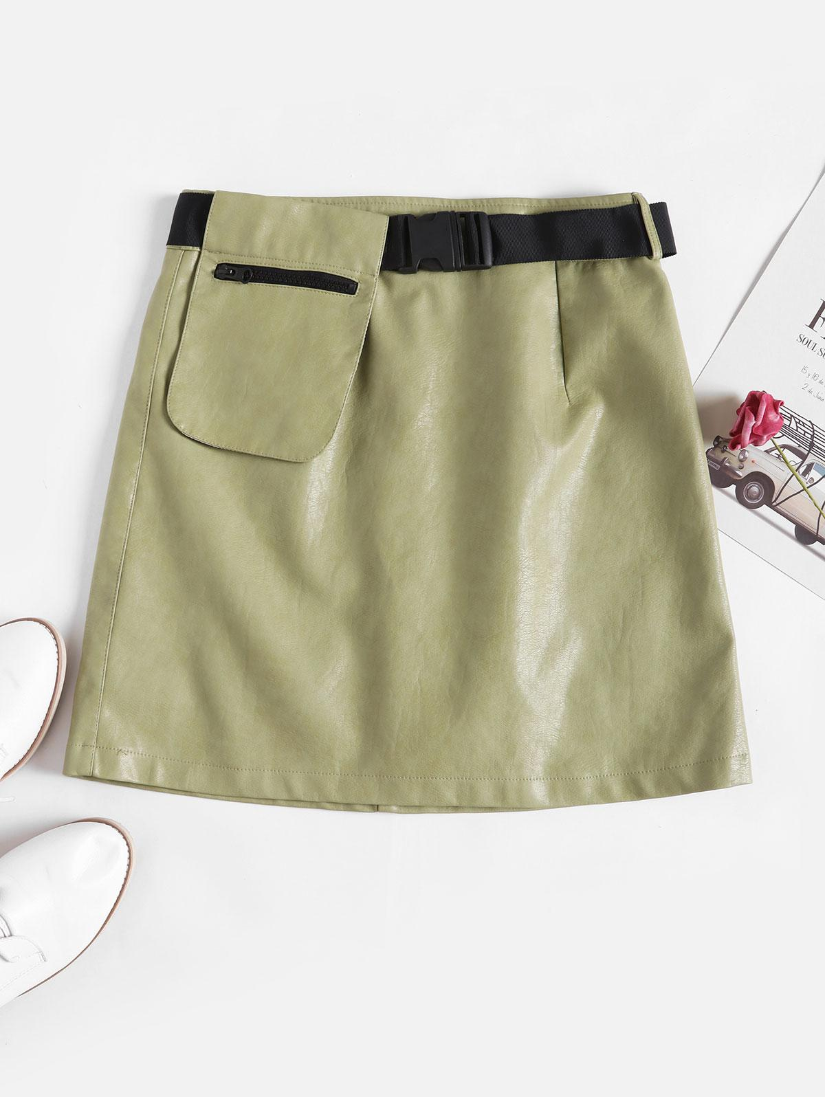 Buckle Belted Zipper Pocket PU Leather Skirt