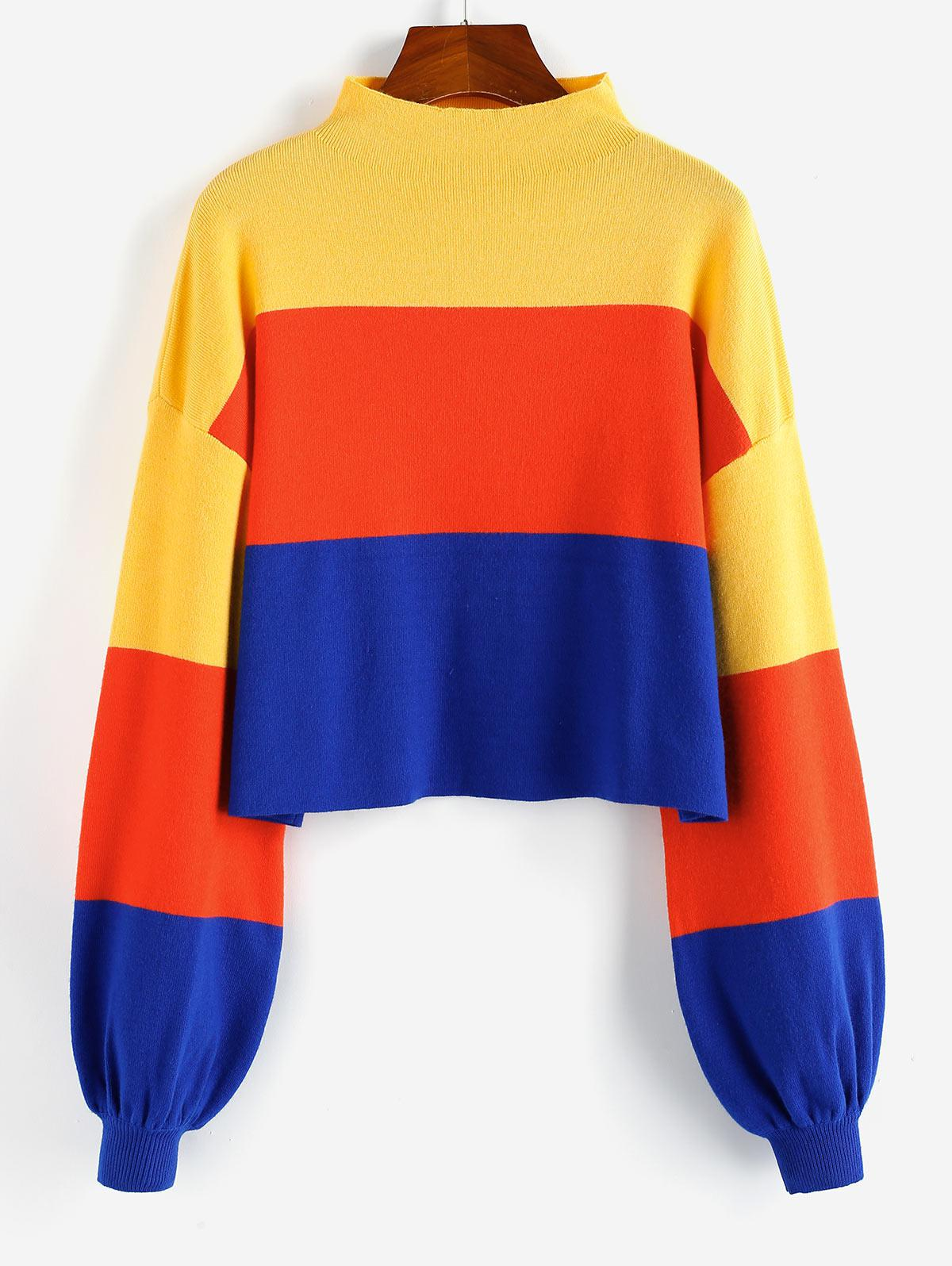 ZAFUL Colorblock Drop Shoulder Mock Neck Sweater