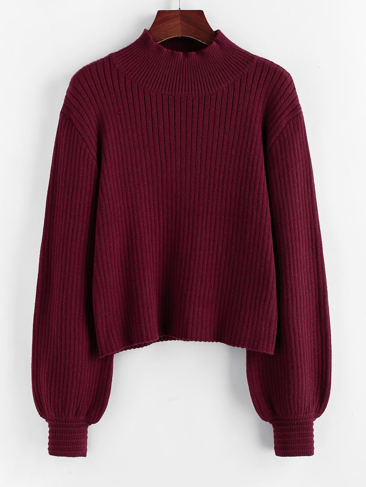 ZAFUL Mock Neck Lantern Sleeve Drop Shoulder Sweater
