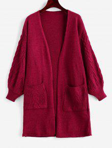 Dual Pocket Open Placket Cable Knit Cardigan