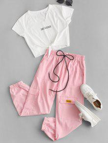 Letter Tee and Jogger Pants Set