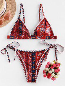 ZAFUL البوهيمي زهرة سوط غرزة سلسلة بيكيني ملابس السباحة - متعددة-a S