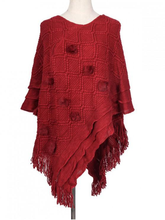 best Fuzzy Ball Rhombus Fringe Poncho Cape - RED REGULAR