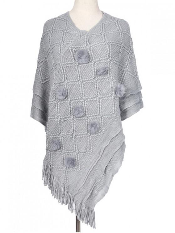 latest Fuzzy Ball Rhombus Fringe Poncho Cape - GRAY CLOUD REGULAR