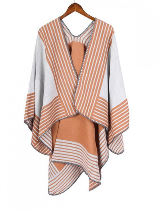 new Stripe Pattern Open Front Poncho Cape - CORN YELLOW REGULAR