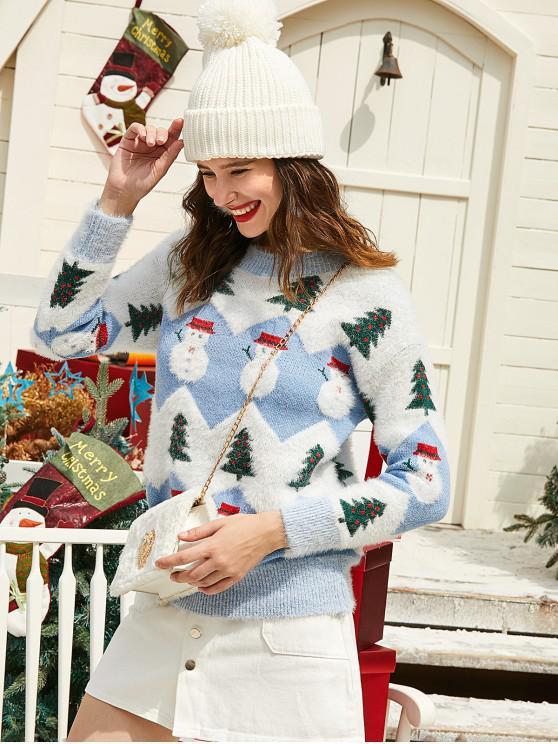 shops ZAFUL Christmas Tree Snowman Drop Shoulder Fuzzy Sweater - MULTI M