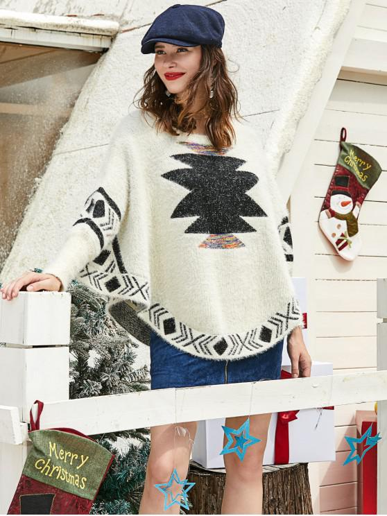 chic ZAFUL Christmas Graphic Fuzzy Knit Batwing Sweater - MULTI L