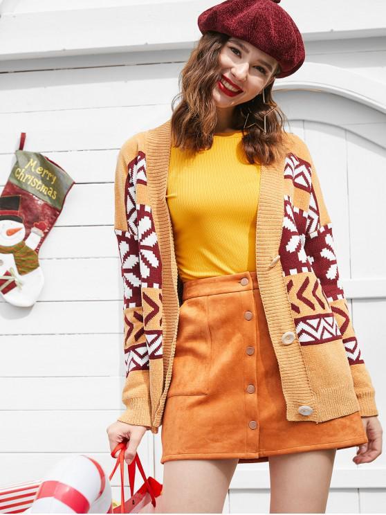 fancy ZAFUL Snowflake Buttoned Chenille Knit Christmas Cardigan - MULTI M