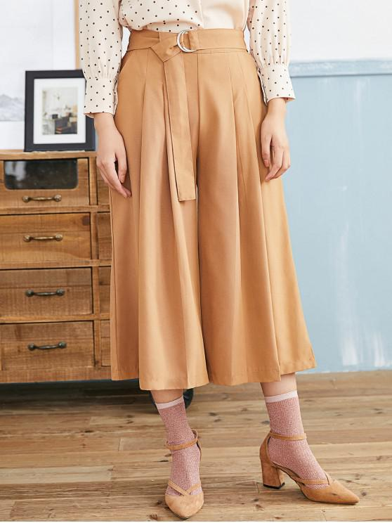 new Pleated D-ring Culotte Pants - LIGHT BROWN M
