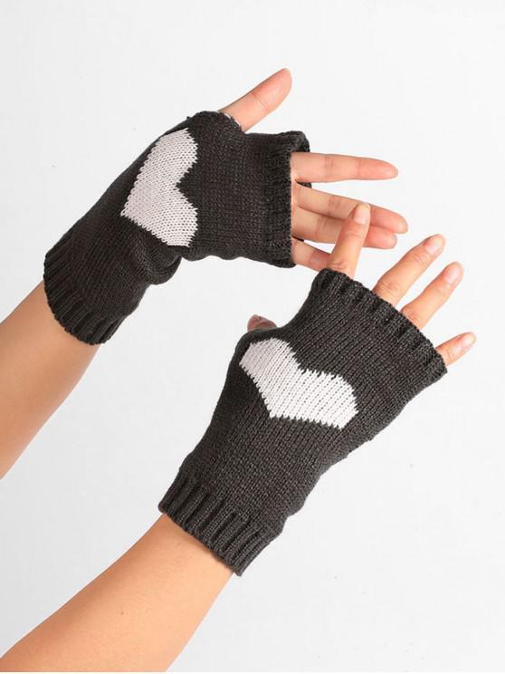 chic Heart Pattern Knitted Fingerless Gloves - NIGHT