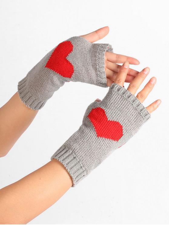 Modelo del corazón de punto guantes sin dedos - Gris Claro